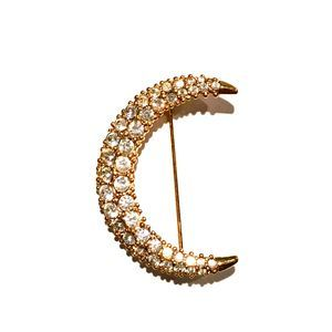 Swarovski Crystal Pave Half Moon Brooch/Pin